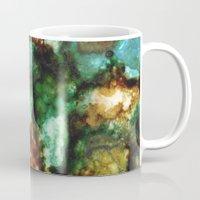 malachite Mugs featuring Geode I, Malachite by Titania Designs