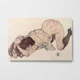 Egon Schiele - Kneeling Girl, Resting on Both Elbows Metal Print