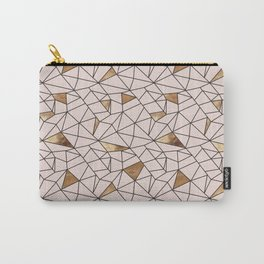 Modern abstract blush pink faux gold geometrical Carry-All Pouch