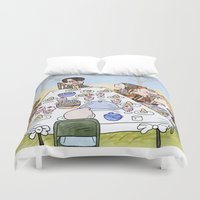thanksgiving Duvet Covers featuring A Max Fischer Thanksgiving by JessLane