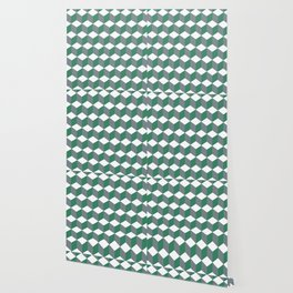 Diamond Repeating Pattern In Quetzal Green and Grey Wallpaper