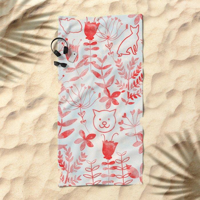 Watercolor Floral & Cat Beach Towel
