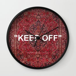 """""""keep off"""" antique persian rug - red Wall Clock"""