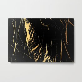Black and gold marble #2 Metal Print