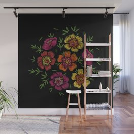 Embroidered Flowers on Black Circle 13 Wall Mural
