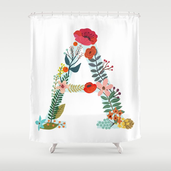 Monogram A Letter Initial Typography Shower Curtain By Miacharro