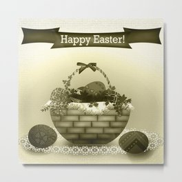 Basket with Easter eggs . Retro . Vintage . Metal Print