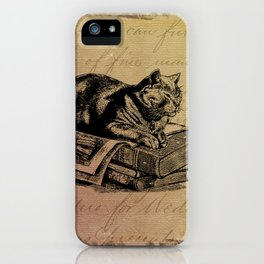 Vintage Cat Collage-Grunge Background iPhone Case