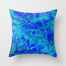 blue abstract modern fractal pattern Throw Pillow