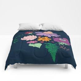 Floral Motif Bouquet Flower Illustration Comforters