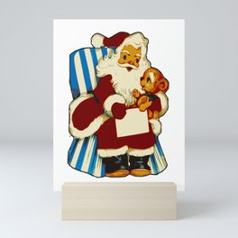 Vintage Santa with Teddy Bear Mini Art Print