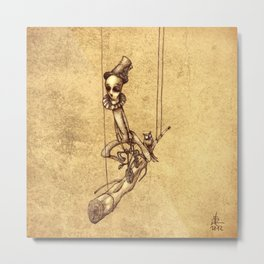 Skeleton On Cycle Metal Print