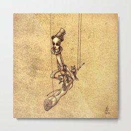 Skeleton On Cycle Metal Print