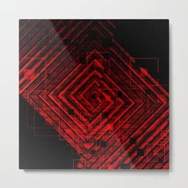 Modern Red and Black Geometrical Pattern Design Metal Print