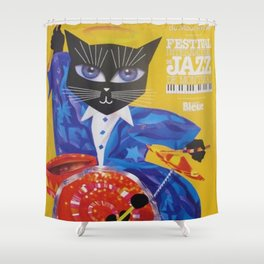 1994 Montreal Jazz Festival Cool Cat Poster No. 3 Gig Advertisement Shower Curtain