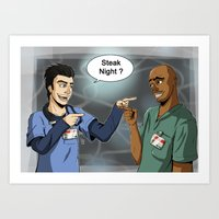 scrubs Art Prints featuring Steak Night of J.D. and Turk (Scrubs) by Matteo Tosin
