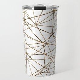 Geometric triangles glitter pattern. Modern stylish texture. Gold trendy glitter print background Travel Mug