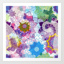 Colorful Butterflies and Flowers Art Print
