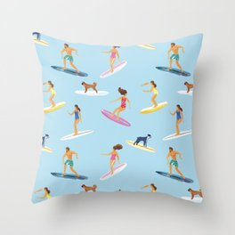 surfers watercolor pattern Throw Pillow