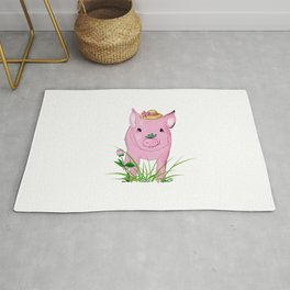 Cute baby pig Illustration Rug
