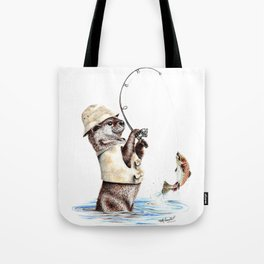 """"""" Natures Fisherman """" fishing river otter with trout Tote Bag"""