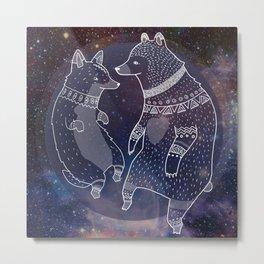 Space Bear Corgi Metal Print