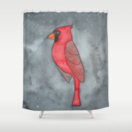 Northern Cardinal - Root Chakra - Watercolor Painting Shower Curtain