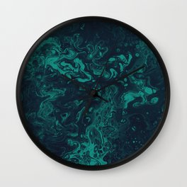 Teal Smoke - An Abstract Piece Wall Clock