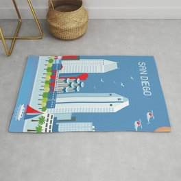 San Diego, California - Skyline Illustration by Loose Petals Rug