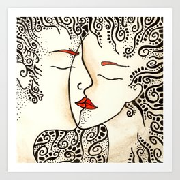 """""""Kiss"""" Romantic lovers drawing - line art with red lips. Art Print"""