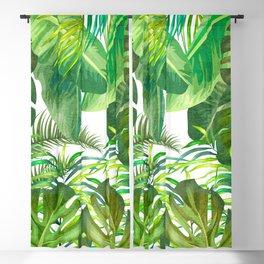 Tropical Leaf Pattern 02- Banana, Palm Leaf, Monstera Leaf - Green, Freshness, Tropical, Botanical Blackout Curtain