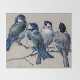 Vintage Cute Blue Birds on Branch Decke