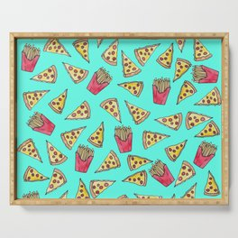 Pepperoni Pizza French Fries Foodie Watercolor Pattern Serving Tray