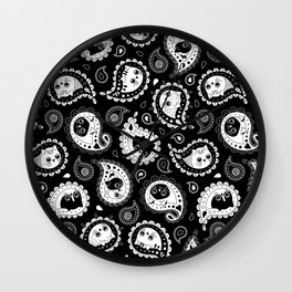 Cat Paisley Black and White Wall Clock