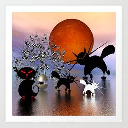 mooncats and the aliens Art Print