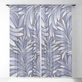 Fancy Leaves In Carolina Blue and White Sheer Curtain
