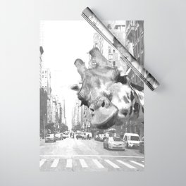 Black and White Selfie Giraffe in NYC Wrapping Paper