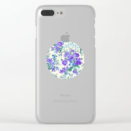 Teal, Blue, Green and Cream Floral Clear iPhone Case