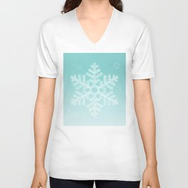 Typographic Snowfake Greetings - Ombre Teal Unisex V-Neck