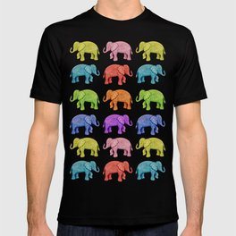 Colorful Parade of Elephants in Red, Orange, Yellow, Green, Blue, Purple and Pink T-shirt