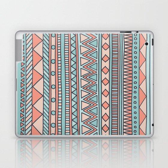Tribal #4 (Coral/Aqua) Laptop & iPad Skin