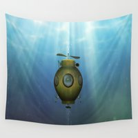 submarine Wall Tapestries featuring Steampunk submarine by valzart