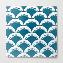 Japanese Fan Pattern Peacock Blue Metal Print
