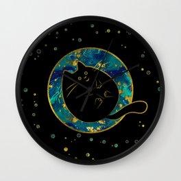 Funny Black Chubby Cat Wall Clock