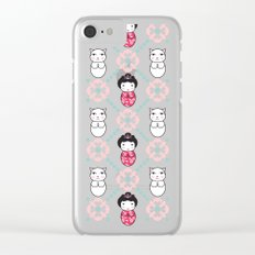 Kokeshi & Lucky Cat Clear iPhone Case
