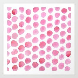Pink Polka Dot Watercolour Art Print
