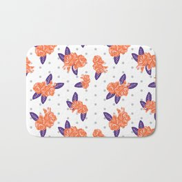 Floral clemson sports college football university varsity team alumni fan gifts purple and orange Bath Mat