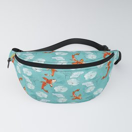 Waterlily koi in turquoise Fanny Pack