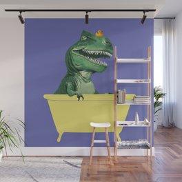Playful T-Rex in Bathtub in Purple Wall Mural