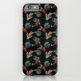 Meditative Koi Fish Pattern Black iPhone Case